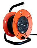 SINICON Reel Extension Socket - Universal 4 Way, 15M Cable, 16A, 230V (Orange & Black)