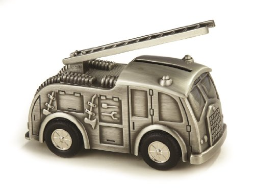 Elegance Silver Fire Truck Bank, Pewter Finish