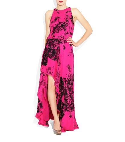 HALSTON HERITAGE Women's Assymeric Hem Dress, Berry, Medium