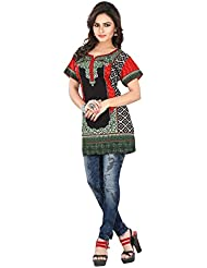 Comfortable And Stylish Red Half Sleeve Floral Print Polyester Casual Wear Short Designer ReadyMade Tunic Top...