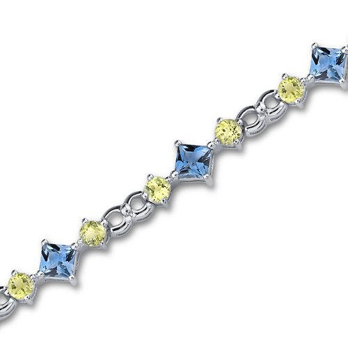 Unique Styling 10.25 carats total weight Princess & Round Cut London Blue Topaz Peridot Bracelet in Sterling Silver Rhodium Finish