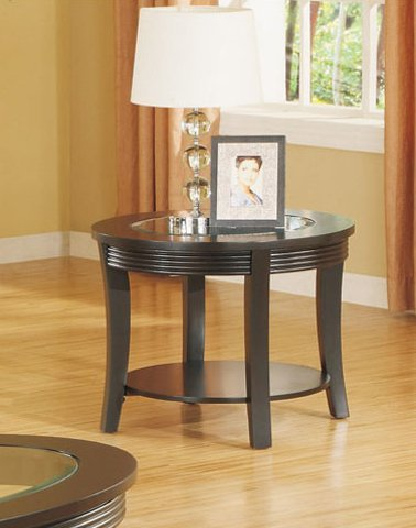 Cheap End Table with Glass Top in Espresso Finish (VF_F6145)