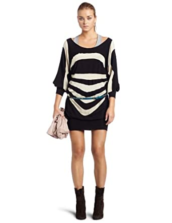 Womens Project Runway Dress With Inserts, Black/Ivory, X-Small