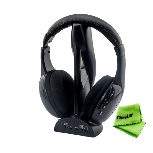 Ckeyin Stereo Wireless Headphone Headset With Microphone Fm For Pc / Laptop / Smart Tv / Iphone / Ipad / Mp3 / Mp4 / Cell Phone / Etc (Black)