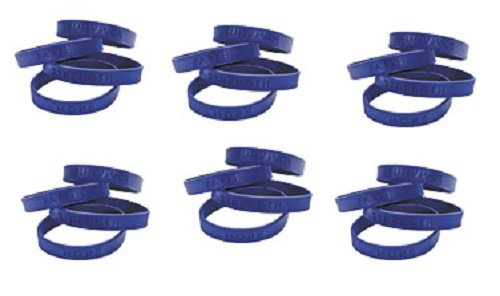 Lot of 24 Cancer Support Blue Silicone Bracelets With Sayings - 1