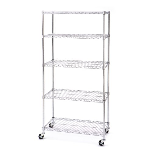 Seville Classics UltraZinc 5-Shelf NSF Wire Shelving Rack with Wheels, 18 x 36 x 72""