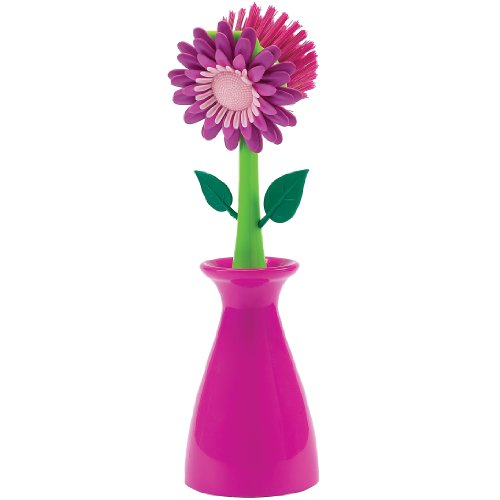 Boston Warehouse Flower Kitchen Brush with Holder, Pink