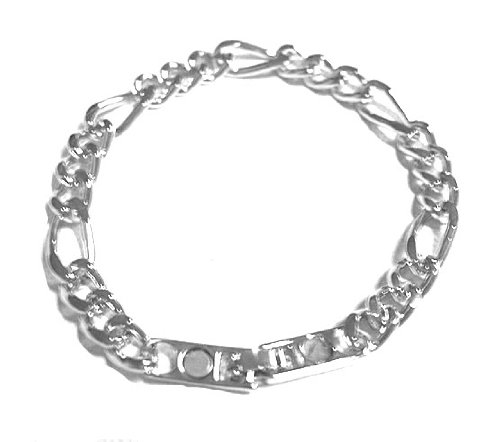 Link Chain 7″ Magnetic Bracelet in Gold Or Silver Overlay, Silver Overlay