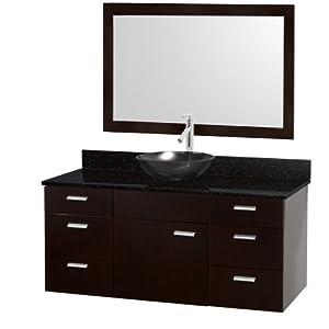 Encore 52 Inch Bathroom Vanity Set - Espresso with Black ...