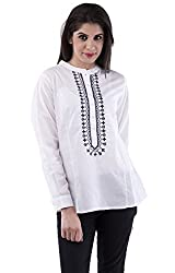AARR Black Embrodiery Long Sleeves Chinese Collar Poly Cotton White Top