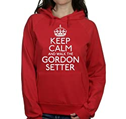 Keep calm and walk the Gordon setter womens hooded top pet dog gift ladies Red hoodie white print