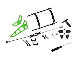 HMF 6455306 Crash Set, 7-Teilig grün inkl. Landegestell und Schraubendreher, passend für MJX F-45, F645, F45, RC Helikopter Ersatzteile