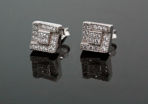 .925 Sterling Silver White Square White Crystal Micro Pave Unisex Mens Stud Earrings