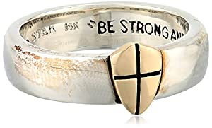 """Bob Siemon Men's Two-Tone Sterling Silver and 14k Gold """"Shield of Faith"""" Ring, Size 9"""