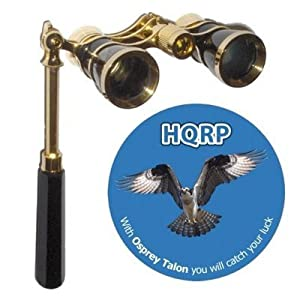 3 X 25 Opera Glass Binocular In Elegant Black Color With Built-in Elegant Black Extendable Handle With Gold Trim By Hqrp Plus Coaster