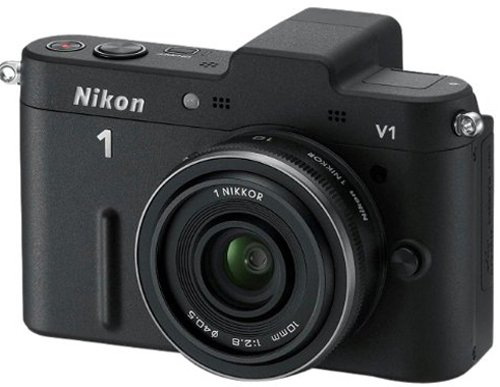 Nikon 1 V1 Compact System Camera with 10mm Lens Kit - Black (10.1MP) 3 inch LCD
