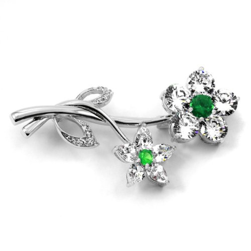 Wedding Jewelry: Roma's CZ Flower Brooch - Emerald