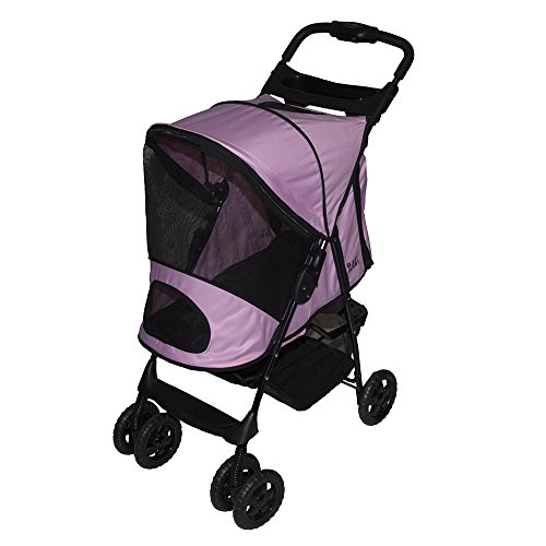Pet Gear Happy Trails Plus Pet Stroller with Weather Guard for cats and dogs up to 30-pounds, Pink Ice