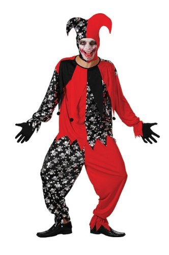 Bristol Novelty Red/Black Evil Jester. Adult Costumes - Men's - One Size