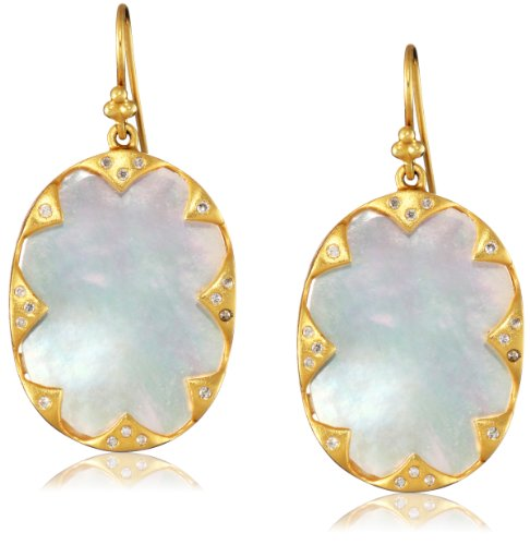 Lauren Harper Collection Over the Moon 18k Gold, Mother-Of-Pearl and Diamond Ovals Earrings