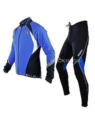Sobike Cycling Suits Fleece Winter Jacket-Aurora Fleece Tights-Cruise Blue