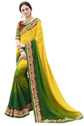 Sheknows Yellow and Green Georgette Embroiderd Saree