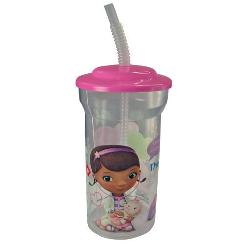 WeGlow International Doc McStuffins Sports Tumbler with Lid and Straw (Set of 2), 16-Ounce