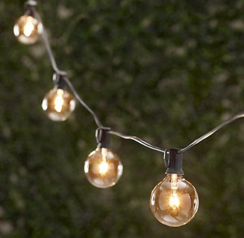 Spring Rose(TM) 25 Clear Globe Patio String Lights . These Are Great For Christmas, Holidays and Should Be Part of Your Party Supplies. They Make A Great Wedding Decoration And Can Be Used Indoors and Outdoors. Each Strand Has 25 Clear Round Bulbs With A Green Cord And An End Connector So You Can Connect Multiple Sets. Each Bulb Socket Has A Clip For Easy Installation. Total Length 25 Feet, 12 Inch Spacing Between Bulbs, and 5 Inches From Plug To First Bulb.