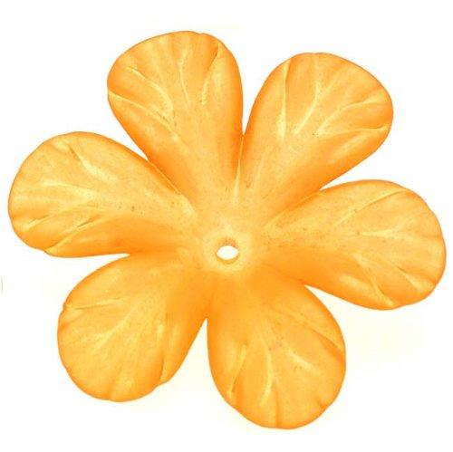 Lucite 6 Petal Tropical Flower Beads Matte Mandarin Orange 30mm (4)