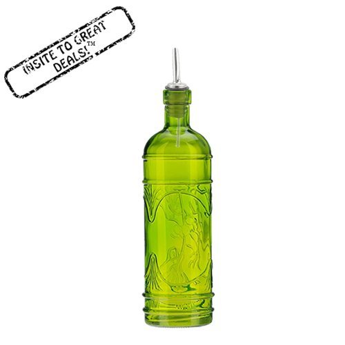 16.1oz Lime Green Olive Leaf Multi-purpose Kitchen Olive Oil, Liquid Hand, Dish Soap Decorative Glass Bottle Dispenser Designer Glass Bottle with Perfect Pour Stainless Steel Spout (Oil Dispenser Green compare prices)