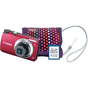Canon PowerShot A3300 IS Bundle with 4 GB Memory Card, Strap and Pink Polka Dot BuiltNY Pouch