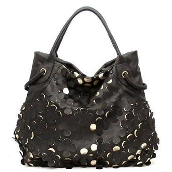 Nila Anthony Handbags Laser Cut Flower Purse - Black (Black) [Apparel]