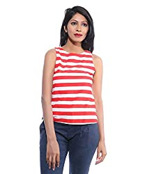 Avakasa Cotton Red Stripes Partywear Sleeveless Sleeves Top (top-28-red)