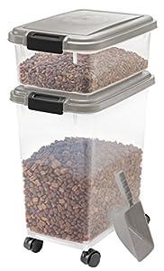 IRIS Airtight Pet Food Container Combo Kit, Chrome/Black