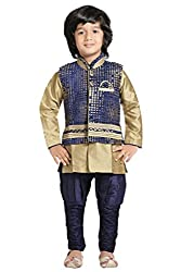 Jeet Boys Blue Silk Jacket Kurta Suit