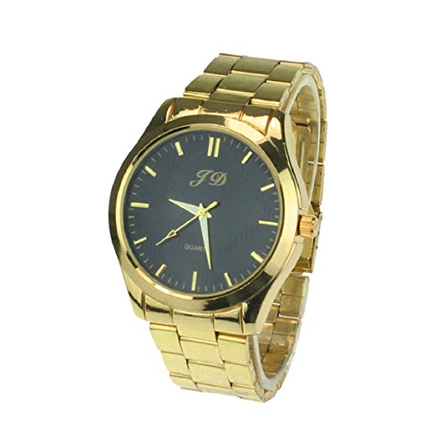 Sandistore Luxury Men Gold Classic Analog Quartz Stainless Steel Wrist Watch(Black)