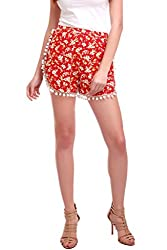 Pom Pom Lace Red Shorts