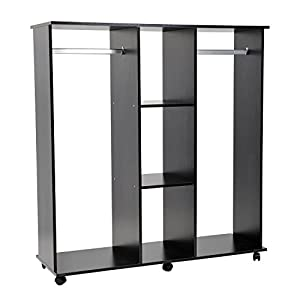 homcom double mobile open wardrobe with clothes hanging. Black Bedroom Furniture Sets. Home Design Ideas