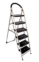 Cipla Plast Stainless Steel Folding Ladder with Wide Steps - Milano 7 Steps + Free 14 Pcs Multipurpose Buffers - GEC-L7M-SS