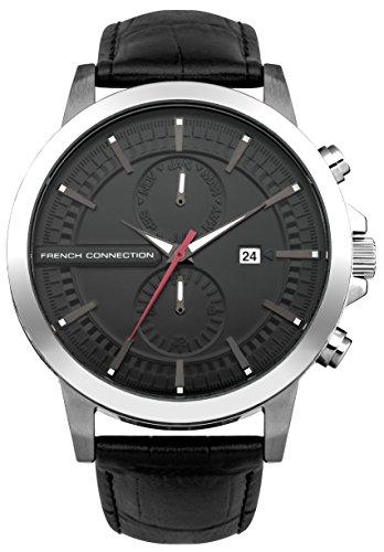 French Connection-Orologio da uomo al quarzo con Display analogico e cinturino in pelle nera, FC1270BA