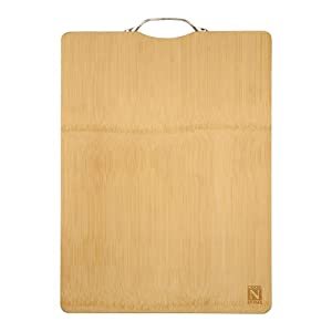 Cook N Home Natural Bamboo Cutting Board Reversible with Handle by Cook N Home