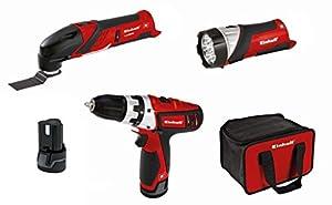 Einhell RT-TK 12 Li Kit Werkzeug-Set, 12V Akku-Bohrschrauber, Multifunktionswerkzeug und LED-Taschenlampe, umfangreiches Zubehör, Tragetasche