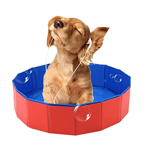 Lalawow Pet Swimming Pool Foldable Dog Bathing Tub Bathtub Dog Cats Washer 24inch.D x 8inch.H (Pet Tubs For Small Dogs compare prices)