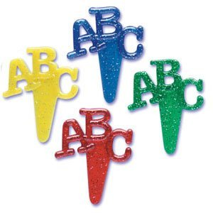 Oasis Supply ABC Plastic Cupcake Decorating Picks, Set of 12 - 1
