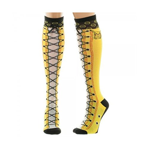 POKEMON Pikachu Faux Lace Up Boots Knee High Socks Womens Top Selling Item (3ds Pokemon Omega Red compare prices)