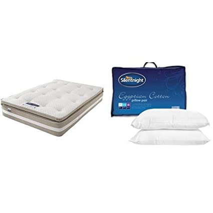 Silentnight 1850 Pocket Geltex Mattress with Pair of Egyptian Cotton Pillows - Double