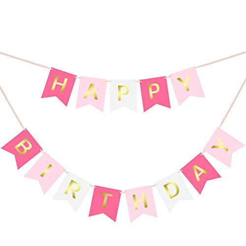Happy-Birthday-Swallowtail-Bunting-Banner-for-Party-Decoration-Hot-Pink-Pastel-Pink-White-Background-Gold-Foiled-Letters-Classy-Luxurious-Decorations