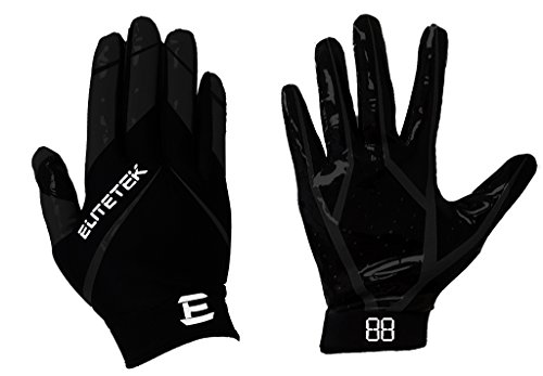 EliteTek RG-14 Football Gloves Youth and Adult (Black/Black, Youth M)