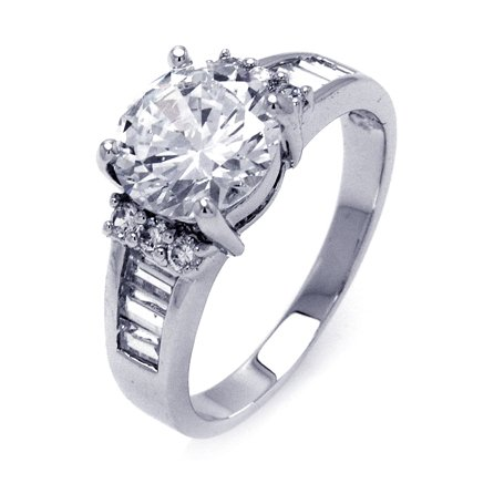 Wonderful Sterling Silver Engagement Ring, Designed with High Quality Round-Cut Colorless Cubic Zirconia Center Stone and Rows of Baguette-Cut & Round Side Stones, Limited-Time Sale Offer, Comes with Free Gift Pouch and Gift Box (7)