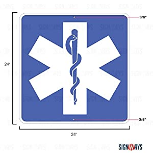 D9-13, Emergency Medical Services Sign, Emergency Room Signs, 24